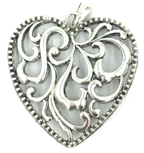 BIG Silver plated pendant - Large filigree heart 8cm x 8cm